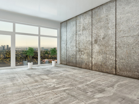 interior spaces: Empty spacious modern interior room with floor to ceiling view window and grey cement wall unfurnished except for two houseplants Stock Photo