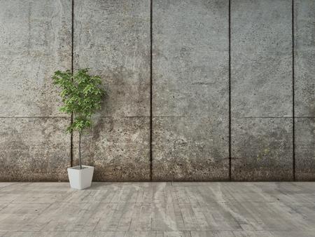 コンクリートの壁と花のポットとグランジ装飾インテリア