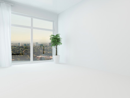 unfurnished: Unfurnished white apartment living room or bedroom with a view window overlooking a distant town and floor length white drapes, fresh, light, bright and airy