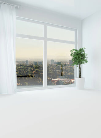 unfurnished: Bright light unfurnished apartment with a big view window over the distant town at dusk and white floor, walls and drapes