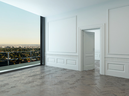 Empty room interior with large window and wooden floor photo