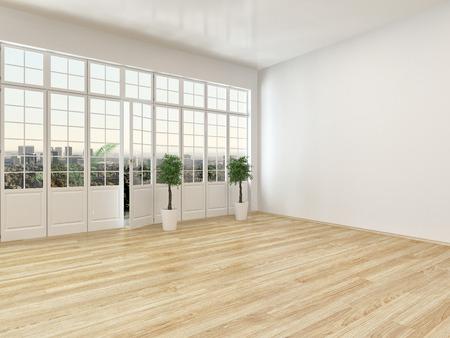 寄せ木細工の床と風通しの良い、白い壁と明るい屋外のパティオにつながるドアを持つ大規模なパノラマ ビュー ウィンドウで空のリビング ルーム