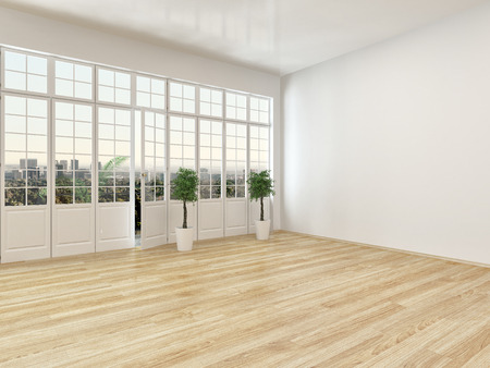 airy: Empty living room interior with parquet floor and a large panoramic view window with a door leading to an outside patio, airy and bright with white walls