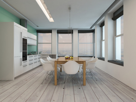 dining table and chairs: Modern kitchen dining room interior with large windows on two walls, a stylish modern table and chairs and kitchen counter and appliances on a painted parquet floor