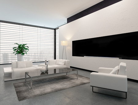 settee: Modern living room interior in white, grey and black in minimalist style with closed blinds on the window, an illuminated standard lamp and modular contemporary lounge suite Stock Photo