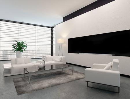 Moderne woonkamer interieur in wit grijs en zwart in