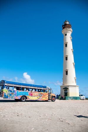 deteriorating: Picture of California Lighthouse Landmark on Aruba Caribbean Editorial