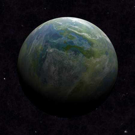 rotating: Hemisphere satellite view of a planet earth from outer space Stock Photo