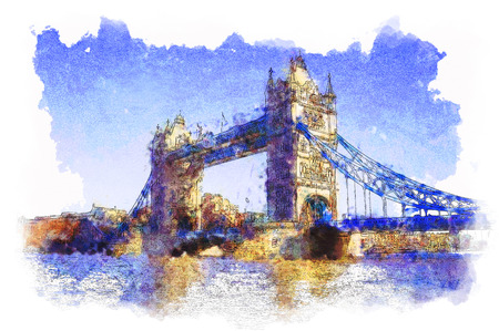 abstract london: Nice water colored picture of Tower Bridge in London Stock Photo