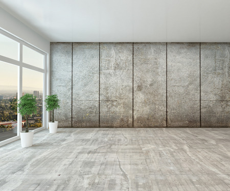 Empty spacious modern interior room with floor to ceiling view window and grey cement wall unfurnished except for two houseplants Stock Photo