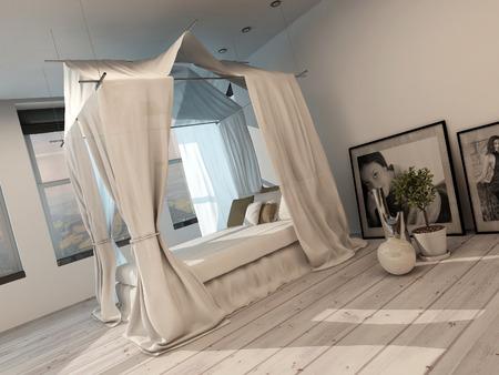Stilvolle Moderne Minimalistische Schlafzimmer Interieur Mit Einem ...