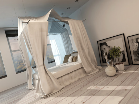 four poster bed: Stylish minimalist modern bedroom interior with a four poster bed, white painted parquet floor and light, bright view windows along one wall