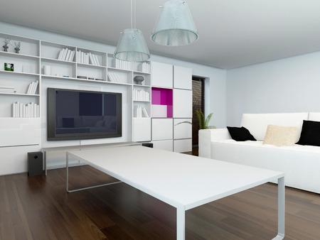 neutrale moderne wohnzimmer, komfortable moderne wohnzimmer innenraum mit einem großen tv-gerät, Ideen entwickeln