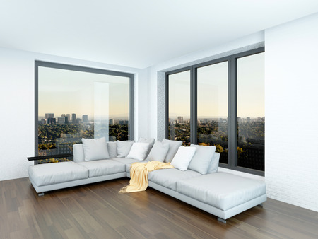 Modern minimalist sitting room interior with a corner unit in front of two view windows on a bare parquet floor with white and pale grey decor
