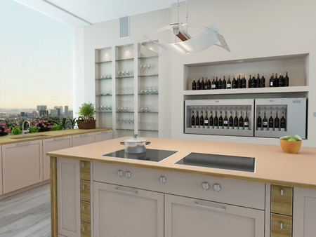Modern new kitchen interior with built in wall shelves and a\ central island with an oven and hob and a bright airy wall length\ panoramic view window