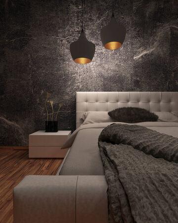 White huge bed standing against dark black wall photo