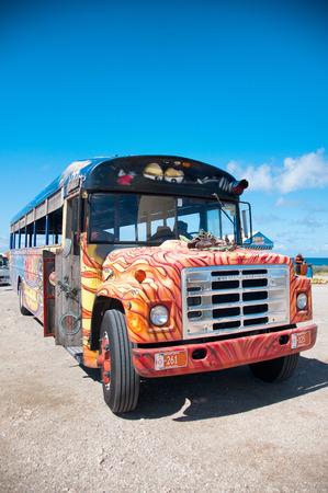 Picture of colorful bus coach in Aruba