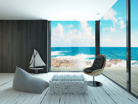 resort beach: Maritime style living room interior Stock Photo