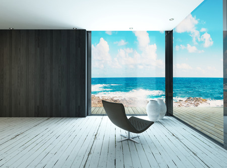 beach summer: Maritime style living room interior Stock Photo