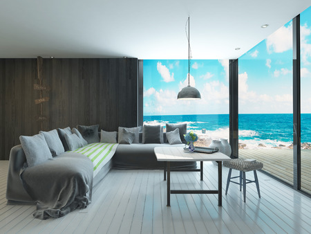 3d apartment: Maritime style living room interior Stock Photo