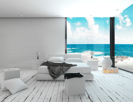 Maritime style bedroom interior with seascape view