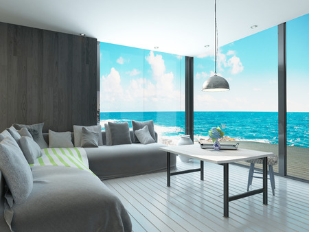 lounge: Maritime style living room interior Stock Photo