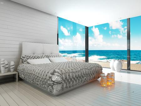 海の景色を望む海洋スタイルのベッドルームのインテリア 写真素材