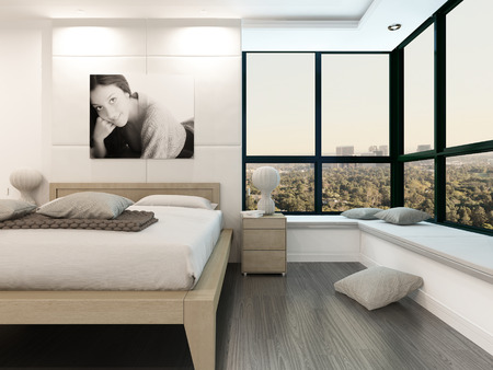 Comfortable bedroom interior with wooden bed and portrait of girl on wall