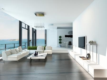 sala de estar: Interior de la sala de estar de lujo moderna Foto de archivo