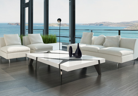 Modern design living room interior with white couch and coffee table photo