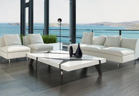 Modernes Design Wohnzimmer Innenraum mit wei�en Couch und Couchtisch