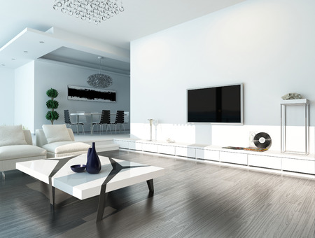 living room interior: Modern design living room interior with white couch and coffee table