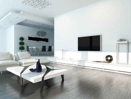 Modern design woonkamer interieur met een witte bank en een salontafel