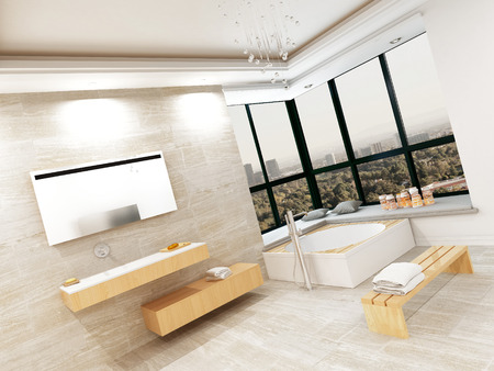 Modern bathroom interior with stone tiles and jacuzzi photo