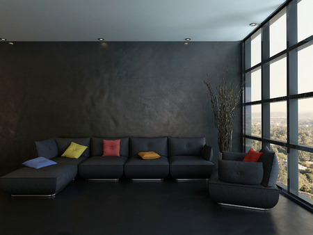 modern sofa: Dark style living room interior with black leather couch and colorful pillows Stock Photo