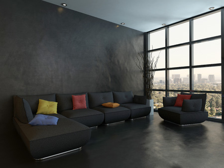 living room interior: Black style living room interior with couch with colorful pillows