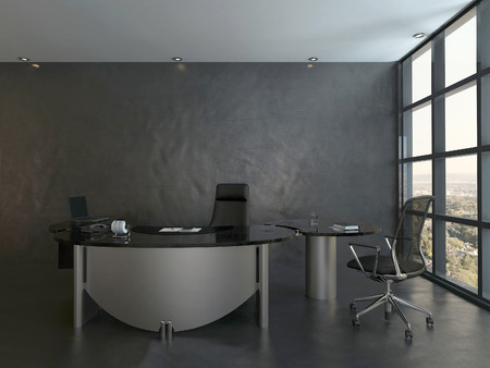 new office space: Modern office interior with black chair and desk