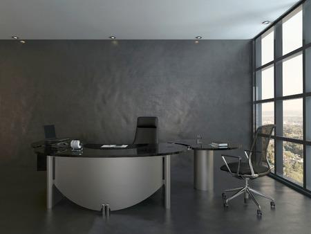 Moderne kantoor interieur met zwarte stoel en bureau Stockfoto