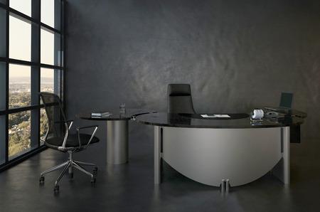 Intérieur de bureaux moderne avec une chaise et un bureau noir