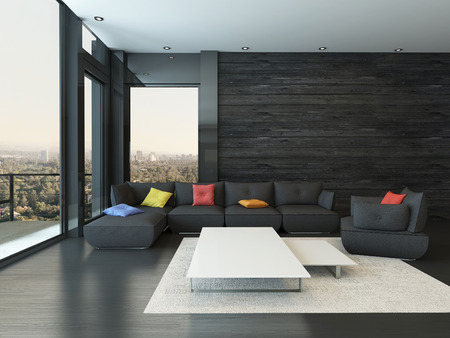 living room window: Black style living room interior with couch with colorful pillows