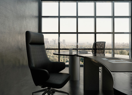chairs: Modern office interior with black chair and desk