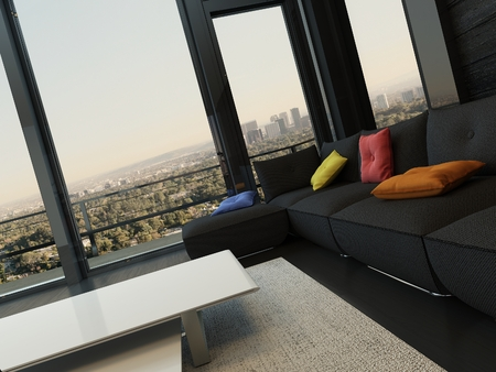 luxuriously: Black style living room interior with couch with colorful pillows