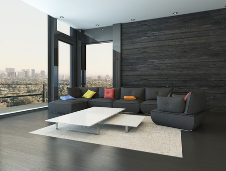 wood flooring: Black style living room interior