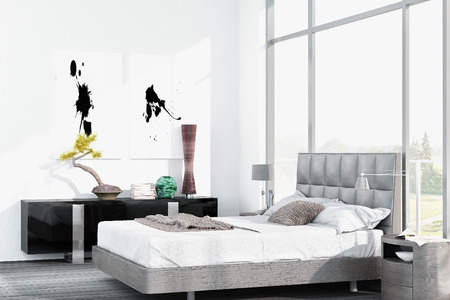 White bedroom interior photo
