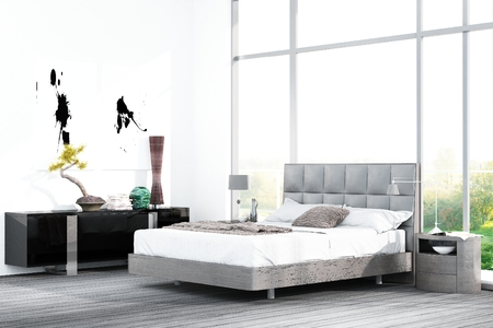 Gray colored bed in front of black cupboard and huge window