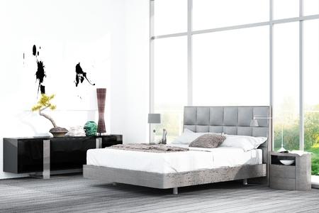 Grijs gekleurde bed in de voorkant van zwarte kast en groot raam