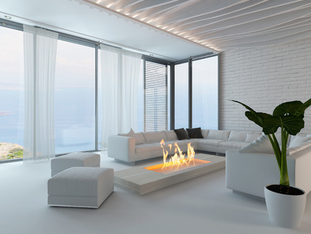White style living room interior with fireplace, couch and potted plant photo