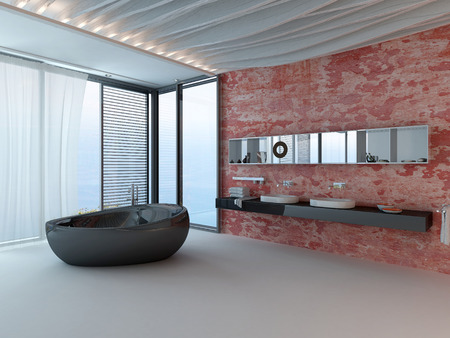 Bathroom interior with red wall, wash basin and black porcelain bathtub photo