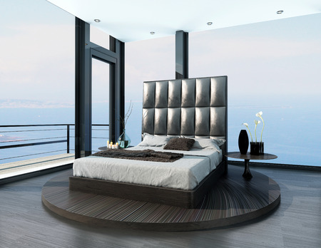 king size bed: Ultramodern design black king-size bed in a open room with huge windows