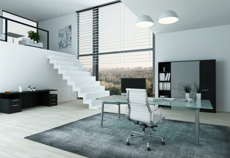 Modern home office interior with desk, chair and mezzanine
